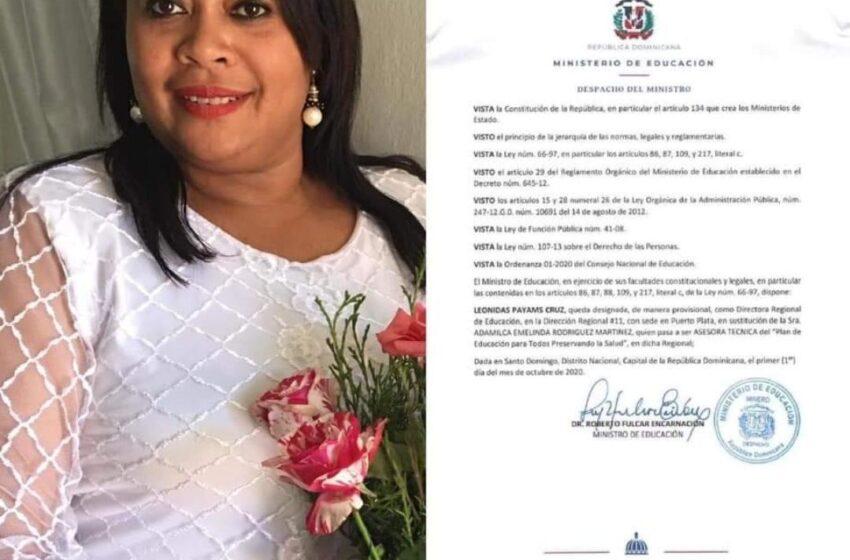 Designan Nueva Directora Régional Educacion Puerto Plata