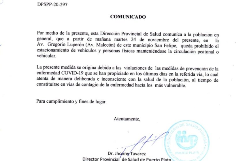 Salud Pública Prohíbe Nuevamente Conductores Aparque Vehículos Malecón Puerto Plata