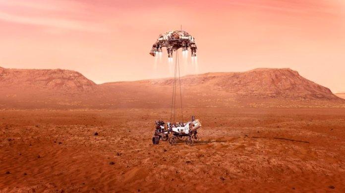 Nave Rover Perseverancia NASA Aterriza Superficie Planeta Marte