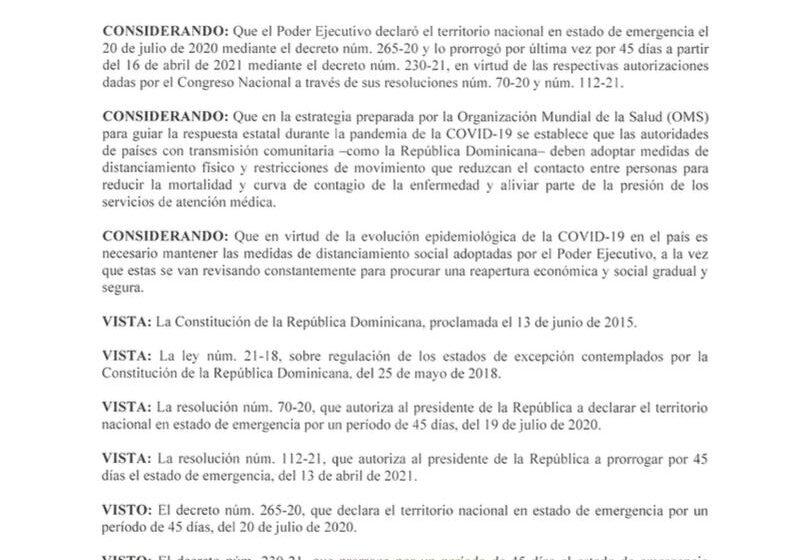 Mandatario Abinader Promulga Decreto Variación Toque de Queda